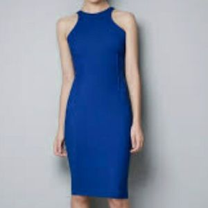 Zara cobalt blue racer back midi pencil dress